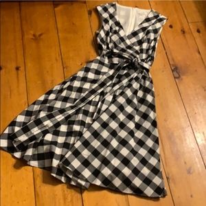 Calvin Klein Dress 2 Black White Gingham Midi